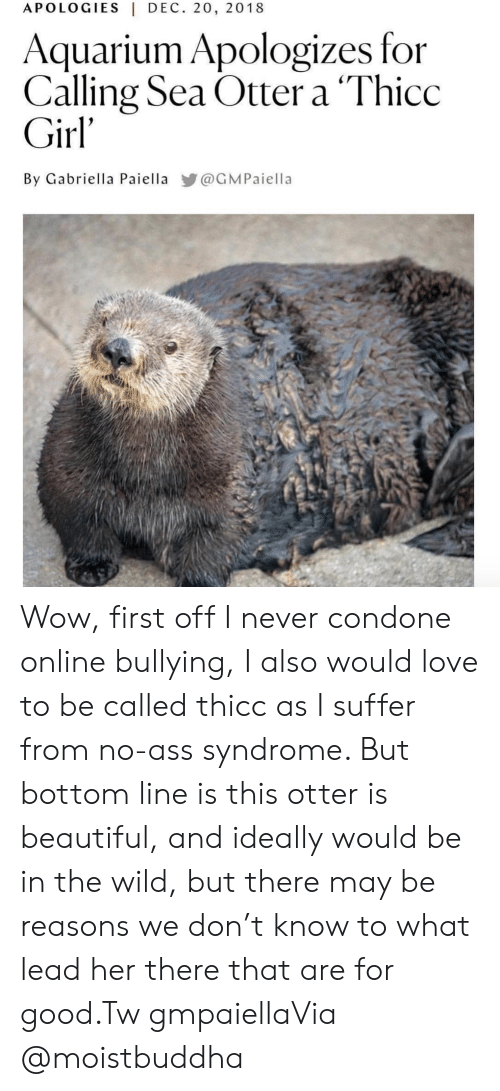 Ass, Beautiful, and Instagram: APOLOGIES|DEC. 20, 2018  Aquarium Apologizes for  Calling Sea Otter a 'Thicc  Girl'  By Gabriella Paiella @GMPaiella Wow, first off I never condone online bullying, I also would love to be called thicc as I suffer from no-ass syndrome. But bottom line is this otter is beautiful, and ideally would be in the wild, but there may be reasons we don't know to what lead her there that are for good.Tw gmpaiellaVia @moistbuddha