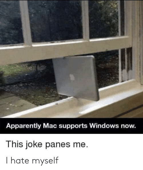 Windows: Apparently Mac supports Windows now.  This joke panes me. I hate myself