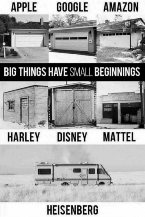 Amazon, Apple, and Disney: APPLE GOOGLE AMAZON  BIG THINGS HAVE SMALL BEGINNINGS  HARLEY DISNEY MATTEL  HEISENBERG