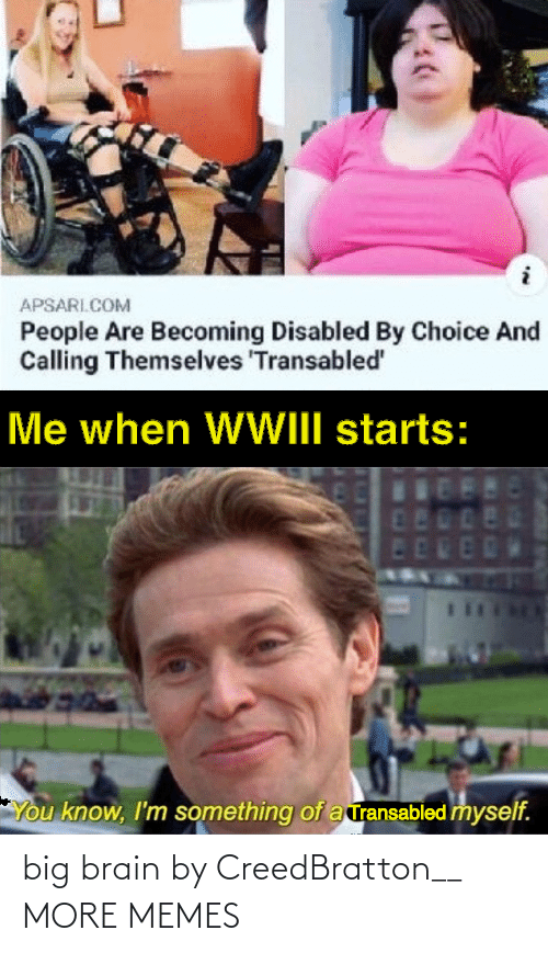 People Are: APSARI.COM  People Are Becoming Disabled By Choice And  Calling Themselves 'Transabled'  Me when WWIII starts:  480  ED  You know, I'm something of a ransabled myself. big brain by CreedBratton__ MORE MEMES