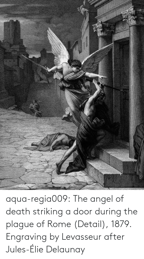 plague: aqua-regia009:   The angel of death striking a door during the plague of Rome   (Detail), 1879.  Engraving by Levasseur after  Jules-Élie Delaunay
