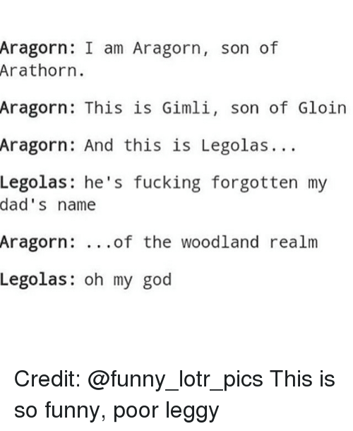 funny lotr: Aragorn: I am Aragorn  son of  Arathorn.  Aragorn: This is Gimli  son of Gloin  Aragorn: And this is Legolas.  Legolas he's fucking forgotten my  dad's name  Aragorn  of the woodland realm  Legolas  oh my god Credit: @funny_lotr_pics This is so funny, poor leggy
