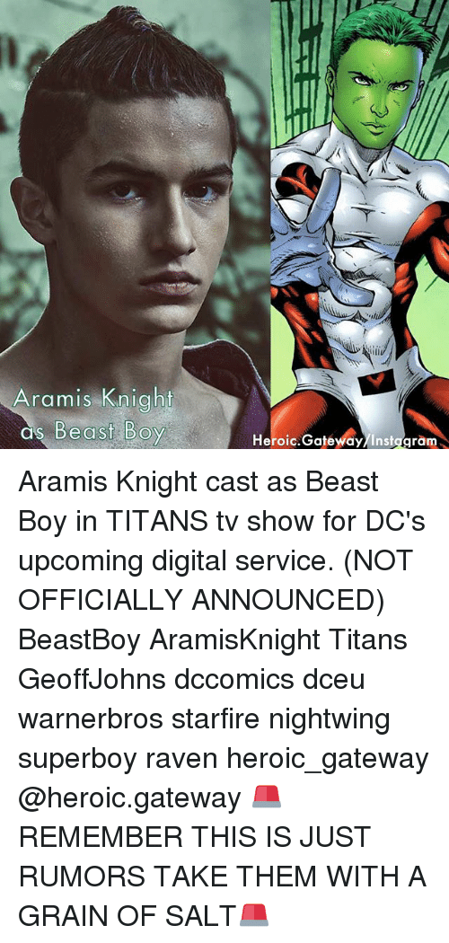 Salting: Aramis Knight  as Be  Heroic.Gatewdy/Instggram Aramis Knight cast as Beast Boy in TITANS tv show for DC's upcoming digital service. (NOT OFFICIALLY ANNOUNCED) BeastBoy AramisKnight Titans GeoffJohns dccomics dceu warnerbros starfire nightwing superboy raven heroic_gateway @heroic.gateway 🚨REMEMBER THIS IS JUST RUMORS TAKE THEM WITH A GRAIN OF SALT🚨
