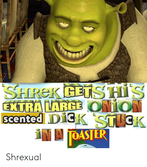 Shrek, Dick, and Onion: ARBITER  SHREK GETS HIS  ONION  EXTRA LARGE  scented DICK STICK  IN A JOASTER Shrexual