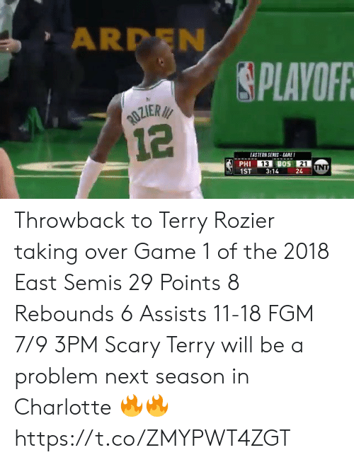 Next Season: ARDEN  PLAVOFR  EASTERN SENIS BANE  13  21  1ST3:1424 Throwback to Terry Rozier taking over Game 1 of the 2018 East Semis  29 Points 8 Rebounds 6 Assists 11-18 FGM 7/9 3PM  Scary Terry will be a problem next season in Charlotte 🔥🔥 https://t.co/ZMYPWT4ZGT