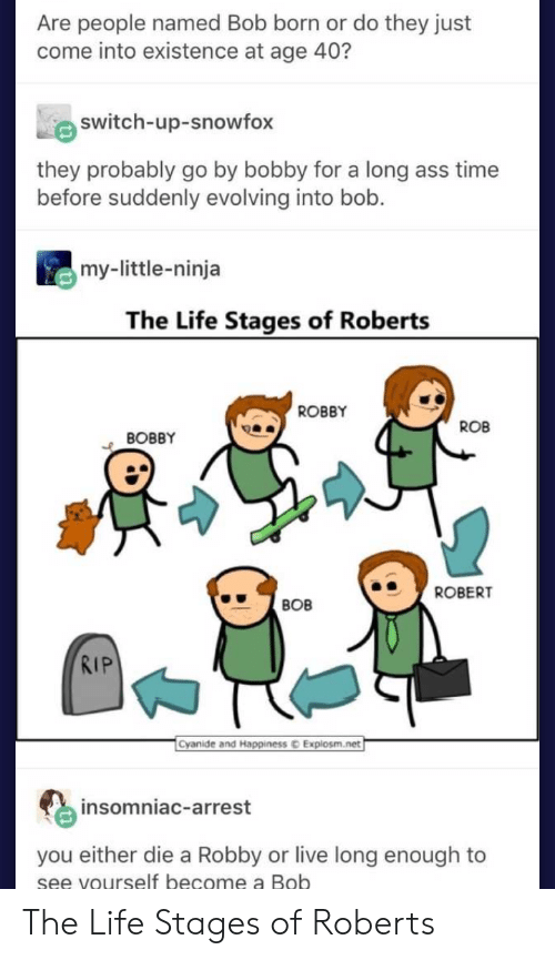 Ass, Life, and Cyanide and Happiness: Are people named Bob born or do they just  come into existence at age 40?  switch-up-snowfox  they probably go by bobby for a long ass time  before suddenly evolving into bob.  my-little-ninja  The Life Stages of Roberts  ROBBY  ROB  BOBBY  ROBERT  BOB  RIP  Cyanide and Happiness  Explosm.net  insomniac-arrest  you either die a Robby or live long enough to  se  e vourself become a Bob The Life Stages of Roberts