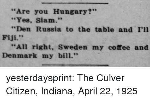 """Fiji: """"Are you Hungary?""""  """"Yes, Siam.""""  """"Den Russia to the table and I'll  Fiji.""""  """"All right, Sweden my coffee and  Denmark my bill."""" yesterdaysprint: The Culver Citizen, Indiana, April 22, 1925"""