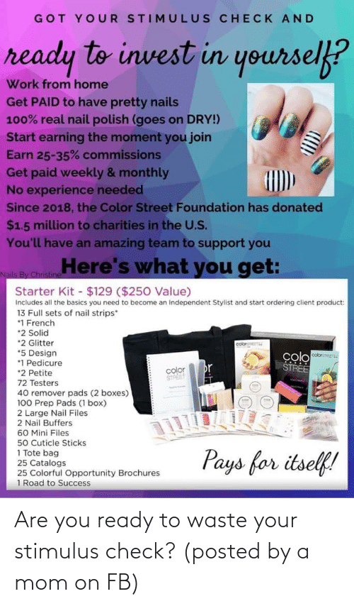 You Ready: Are you ready to waste your stimulus check? (posted by a mom on FB)