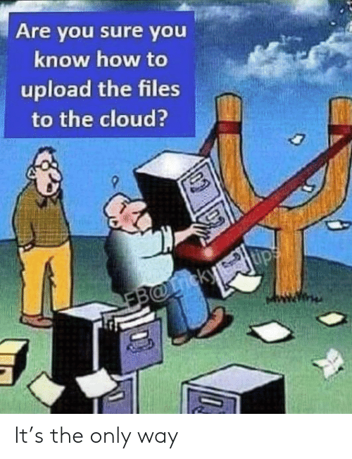 are you sure: Are you sure you  know how to  upload the files  to the cloud?  EB@icky It's the only way