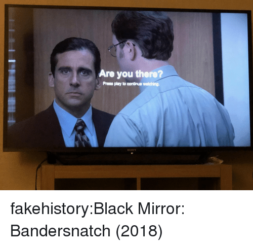 Sony, Target, and Tumblr: Are you there?  Prees play to continue watching.  SONY fakehistory:Black Mirror: Bandersnatch (2018)