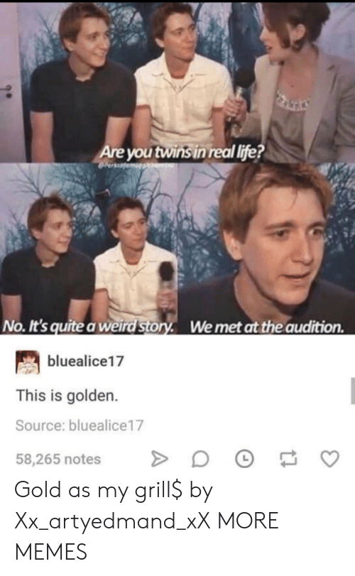 Dank, Life, and Memes: Are you twins in real life?  No. It's quite a weird Story. Wemet at the audition  bluealice17  This is golden.  Source: bluealice17  58,265 notes Gold as my grill$ by Xx_artyedmand_xX MORE MEMES