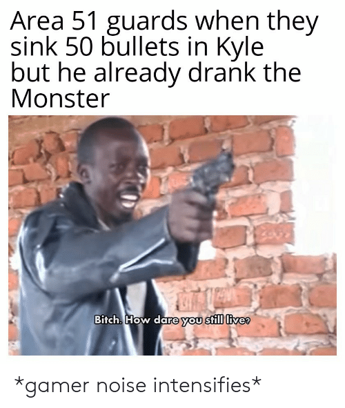 Guards: Area 51 guards when they  sink 50 bullets in Kyle  but he already drank the  Monster  Bitch. How dare you still live? *gamer noise intensifies*