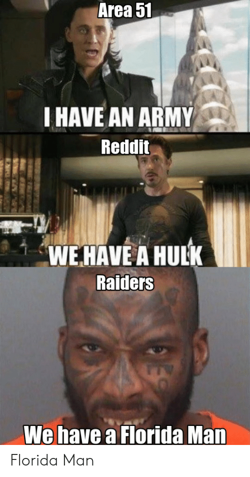 Army Reddit: Area 51  I HAVE AN ARMY  Reddit  WEHAVE A HULK  Raiders  We have a Florida Man  ES Florida Man