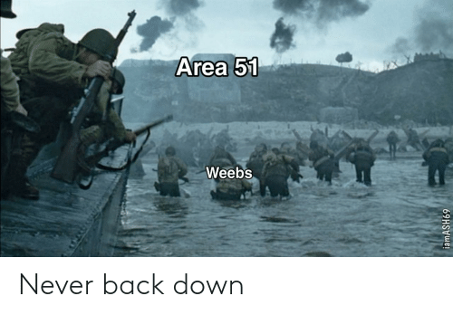 Never, Back, and Area 51: Area 51  Weebs  iamASH69 Never back down