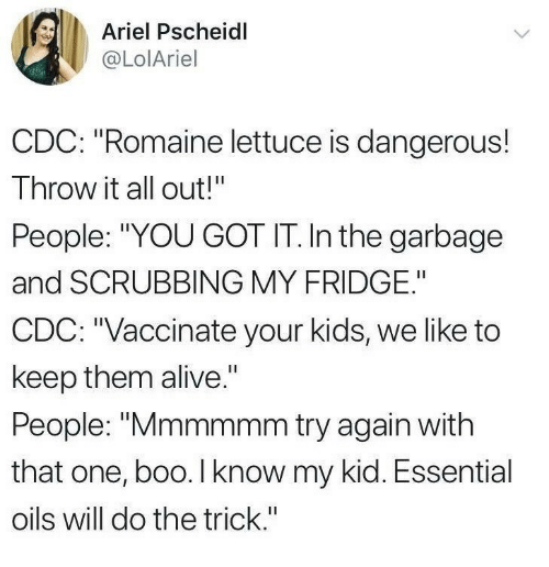 """scrubbing: Ariel Pscheidl  @LolAriel  CDC: """"Romaine lettuce is dangerous!  Throw it all out!""""  People: """"YOU GOT IT. In the garbage  and SCRUBBING MY FRIDGE.""""  CDC: """"Vaccinate your kids, we like to  keep them alive.""""  People: """"Mmmmmm try again with  that one, boo. I know my kid. Essential  oils will do the trick."""""""