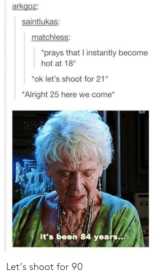 84 Years: arkgoz  saintlukas:  matchless:  rays that I instantly become  hot at 18*  *ok let's shoot for 21  Alright 25 here we come  it's been 84 years. Let's shoot for 90