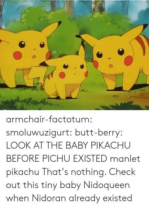 Butt, Pikachu, and Target: armchair-factotum:  smoluwuzigurt:  butt-berry: LOOK AT THE BABY PIKACHU BEFORE PICHU EXISTED  manlet pikachu   That's nothing. Check out this tiny baby Nidoqueen when Nidoran already existed