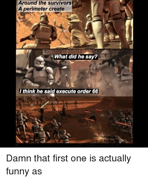 perimeter: Around the survivors  A perimeter create  What did he say?  I think he said execute order 66 Damn that first one is actually funny as