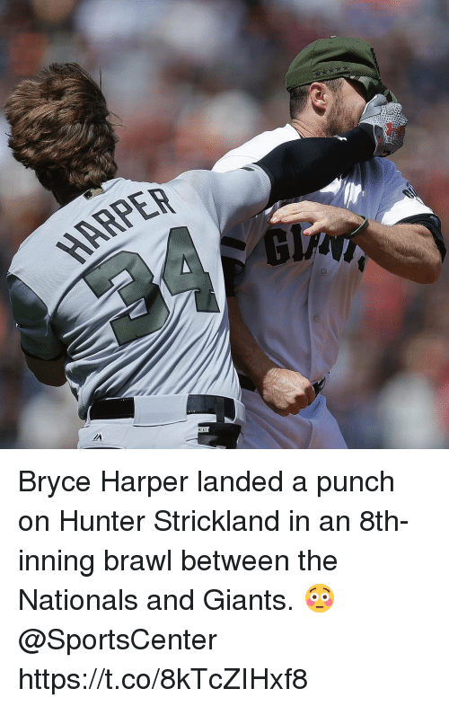 SportsCenter, Bryce Harper, and Giants: ARPER Bryce Harper landed a punch on Hunter Strickland in an 8th-inning brawl between the Nationals and Giants. 😳 @SportsCenter https://t.co/8kTcZIHxf8