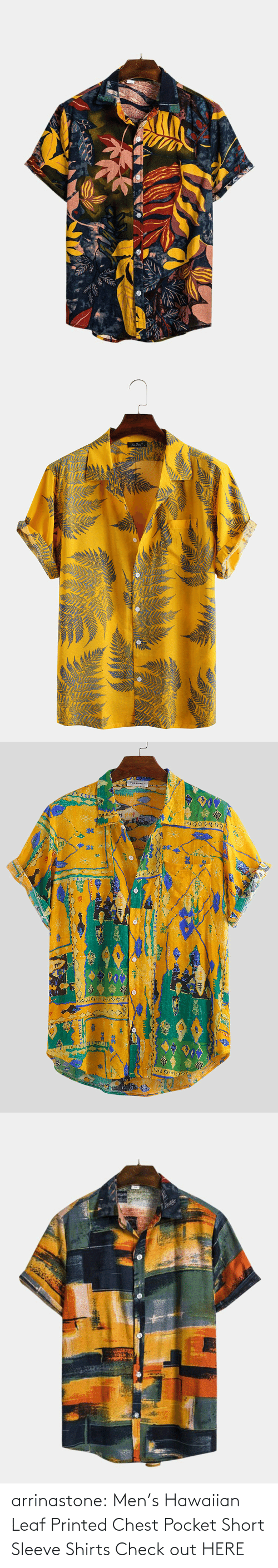 Bit: arrinastone: Men's Hawaiian Leaf Printed Chest Pocket Short Sleeve Shirts  Check out HERE