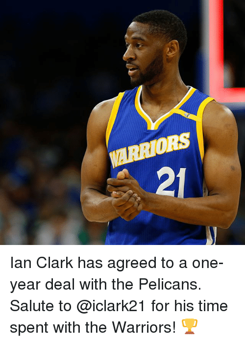 Basketball, Golden State Warriors, and Sports: ARRIORS  2 Ian Clark has agreed to a one-year deal with the Pelicans. Salute to @iclark21 for his time spent with the Warriors! 🏆