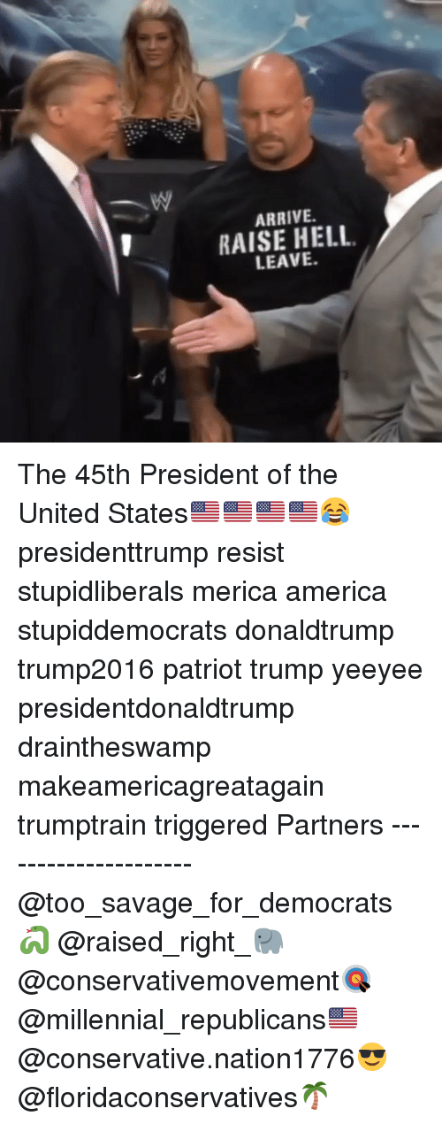 America, Memes, and Savage: ARRIVE.  RAISE HELL  LEAVE. The 45th President of the United States🇺🇸🇺🇸🇺🇸🇺🇸😂 presidenttrump resist stupidliberals merica america stupiddemocrats donaldtrump trump2016 patriot trump yeeyee presidentdonaldtrump draintheswamp makeamericagreatagain trumptrain triggered Partners --------------------- @too_savage_for_democrats🐍 @raised_right_🐘 @conservativemovement🎯 @millennial_republicans🇺🇸 @conservative.nation1776😎 @floridaconservatives🌴