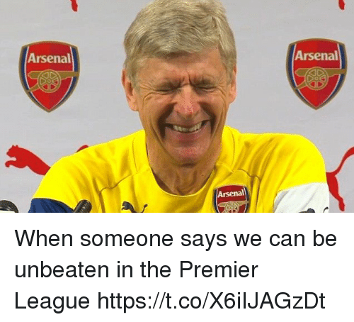 Arsenal, Memes, and Premier League: Arsenal  Arsenal  Arsenal When someone says we can be unbeaten in the Premier League https://t.co/X6iIJAGzDt