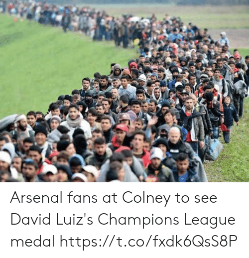 Arsenal, Champions League, and League: Arsenal fans at Colney to see David Luiz's Champions League medal https://t.co/fxdk6QsS8P