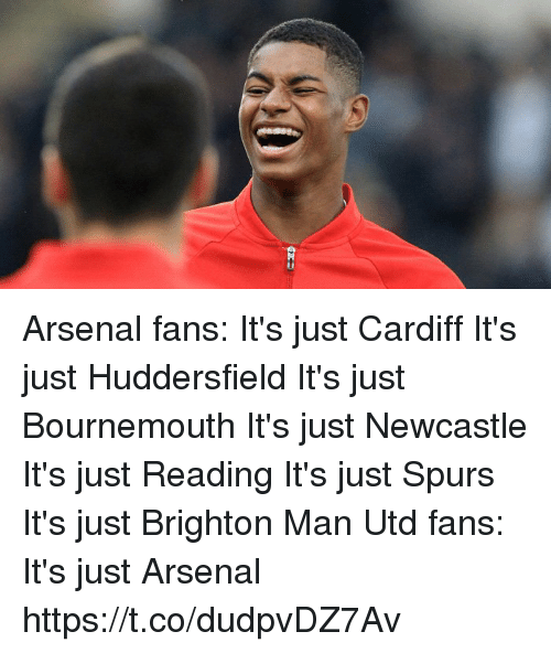 newcastle: Arsenal fans: It's just Cardiff It's just Huddersfield It's just Bournemouth It's just Newcastle It's just Reading It's just Spurs It's just Brighton  Man Utd fans: It's just Arsenal https://t.co/dudpvDZ7Av
