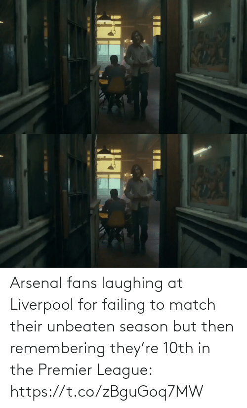 Laughing At: Arsenal fans laughing at Liverpool for failing to match their unbeaten season but then remembering they're 10th in the Premier League: https://t.co/zBguGoq7MW