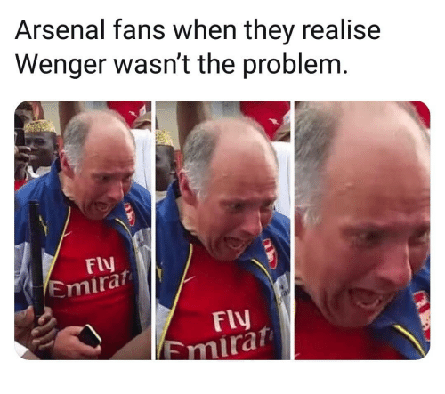 Arsenal, Memes, and 🤖: Arsenal fans when they realise  Wenger wasn't the problem  Fly  Emira  Fly  Emira