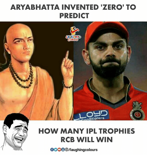 Zero, Indianpeoplefacebook, and How: ARYABHATTA INVENTED 'ZERO' TO  PREDICT  LAUGHING  ottTe  Conditioners  HOW MANY IPL TROPHIES  RCB WILL WIN  0O00@/laughingcolours
