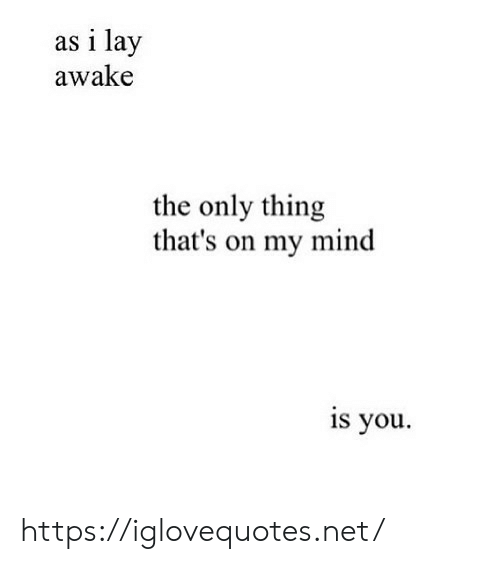 Mind, Net, and Awake: as i lay  awake  the only thing  that's on my mind  is you https://iglovequotes.net/