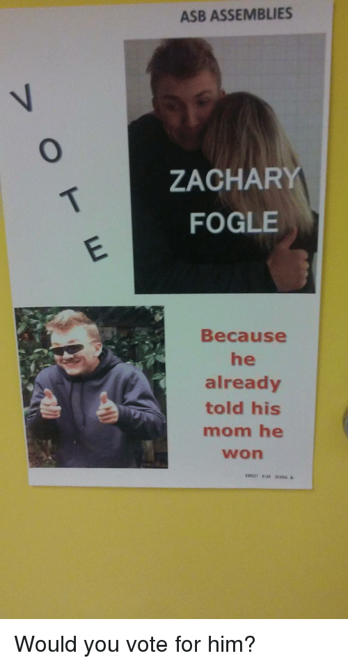 Mom, Him, and You: ASB ASSEMBLIES  7  ZACHARY  FOGLE  Because  he  already  told his  mom he  won Would you vote for him?