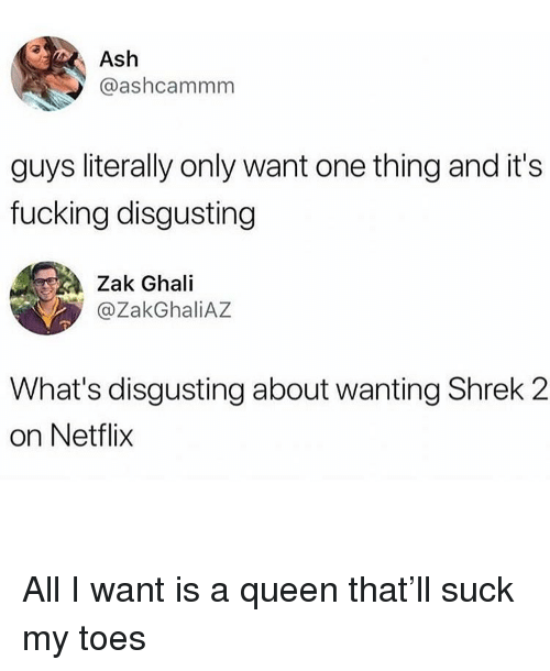Shrek 2: Ash  @ashcammm  guys literally only want one thing and it's  fucking disgusting  Zak Ghali  @ZakGhaliAZ  What's disgusting about wanting Shrek 2  on Netflix All I want is a queen that'll suck my toes