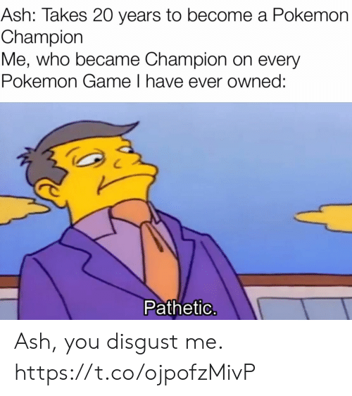 Ash, Pokemon, and Video Games: Ash: Takes 20 years to become a Pokemon  Champion  Me, who became Champion on every  Pokemon Game I have ever owned:  Pathetic. Ash, you disgust me. https://t.co/ojpofzMivP