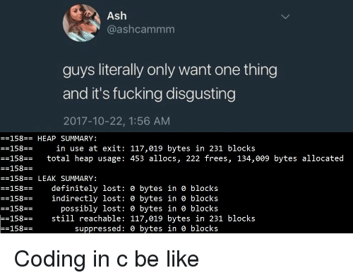 Be Like, Definitely, and Fucking: @ashcammm  guys literally only want one thing  and it's fucking disgusting  2017-10-22, 1:56 AM  158-HEAP SUMMARY:  -158E-  --158 total heap usage: 453 allocs, 222 frees, 134,009 bytes allocated  in use at exit: 117,019 bytes in 231 blocks  158E-  -158-LEAK SUMMARY:  --158 definitely lost: e bytes in e blocks  indirectly lost: e bytes in e blocks  possibly lost: 0 bytes in 0 blocks  158E-  158  158  still reachable: 117,019 bytes in 231 blocks  suppressed: e bytes in e blocks Coding in c be like