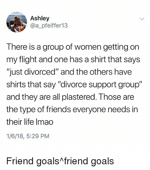 "and the others: Ashley  @a_pfeiffer13  There is a group of women getting on  my flight and one has a shirt that says  ""just divorced"" and the others have  shirts that say ""divorce support group""  and they are all plastered. Those are  the type of friends everyone needs in  their life Imao  1/6/18, 5:29 PM Friend goals^friend goals"
