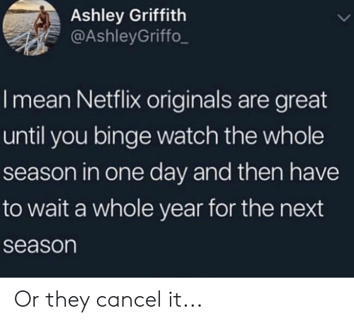 Next Season: Ashley Griffith  @AshleyGriffo  I mean Netflix originals are great  until you binge watch the whole  season in one day and then have  to wait a whole year for the next  season Or they cancel it...