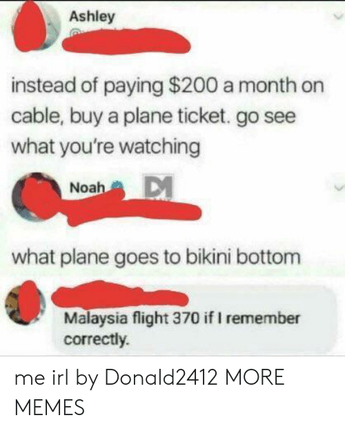 Bailey Jay, Dank, and Memes: Ashley  instead of paying $200 a month on  cable, buy a plane ticket. go see  what you're watching  Noah  what plane goes to bikini bottom  Malaysia flight 370 if I remember  correctly. me irl by Donald2412 MORE MEMES
