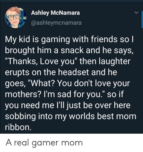 "Im Sad: Ashley McNamara  @ashleymcnamara  My kid is gaming with friends so I  brought him a snack and he says,  ""Thanks, Love you"" then laughter  erupts on the headset and he  goes, ""What? You don't love your  mothers? I'm sad for you."" so if  you need me l'll just be over here  sobbing into my worlds best mom  ribbon. A real gamer mom"