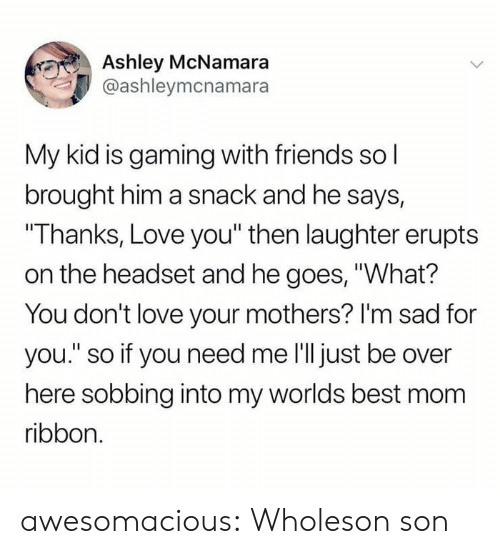 "Im Sad: Ashley McNamara  @ashleymcnamara  My kid is gaming with friends sol  brought him a snack and he says,  ""Thanks, Love you"" then laughter erupts  on the headset and he goes, ""What?  You don't love your mothers? I'm sad for  you."" so if you need me 'll just be over  here sobbing into my worlds best mom  ribbon. awesomacious:  Wholeson son"