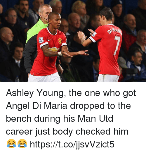 Soccer, Angel, and Angel Di Maria: Ashley Young, the one who got Angel Di Maria dropped to the bench during his Man Utd career just body checked him 😂😂 https://t.co/jjsvVzict5