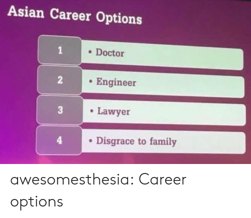 to family: Asian Career Options  . Docto  Engineer  Lawyer  4  . Disgrace to family awesomesthesia:  Career options