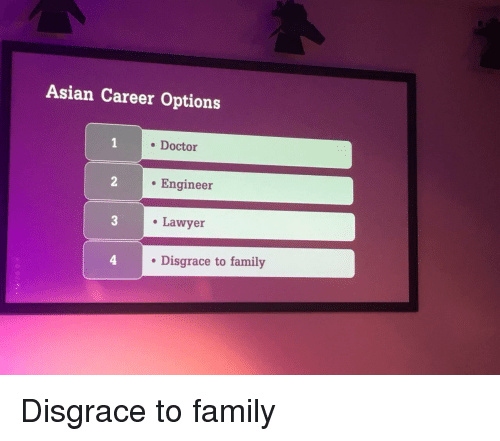 to family: Asian Career Options  . Doctor  . Engineer  Lawyer  . Disgrace to family Disgrace to family