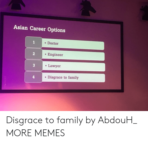 to family: Asian Career Options  . Doctor  . Engineer  Lawyer  . Disgrace to family Disgrace to family by AbdouH_ MORE MEMES