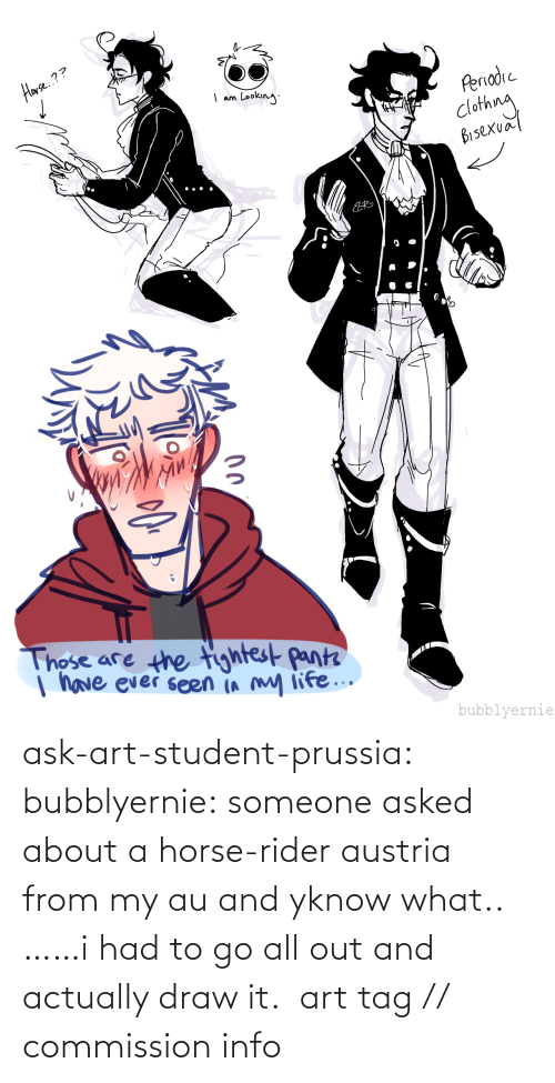 tag: ask-art-student-prussia:  bubblyernie: someone asked about a horse-rider austria from my au and yknow what.. ……i had to go all out and actually draw it.  art tag // commission info