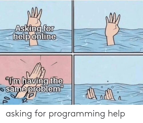"Help, Programming, and Asking: Asking for  help online  ""Um having the  same probl  em""  D0. asking for programming help"