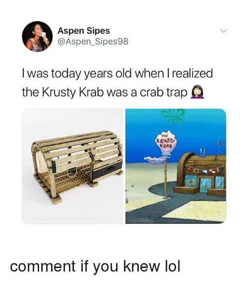 Lol, Trap, and Aspen: Aspen Sipes  @Aspen_Sipes98  I was today years old when I realized  the Krusty Krab was a crab trap  TME  KR4S  KRAB comment if you knew lol