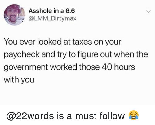 Memes, Taxes, and Government: Asshole in a 6.6  @LMM Dirtymax  You ever looked at taxes on your  paycheck and try to figure out when the  government worked those 40 hours  with you @22words is a must follow 😂